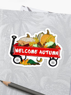 Welcome Autumn Digital Watercolor Sticker