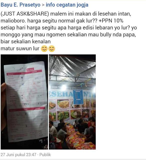 Orang ini Harus Bayar Mahal untuk Makan di Salah Satu Lesehan di Malioboro Yogyakarta