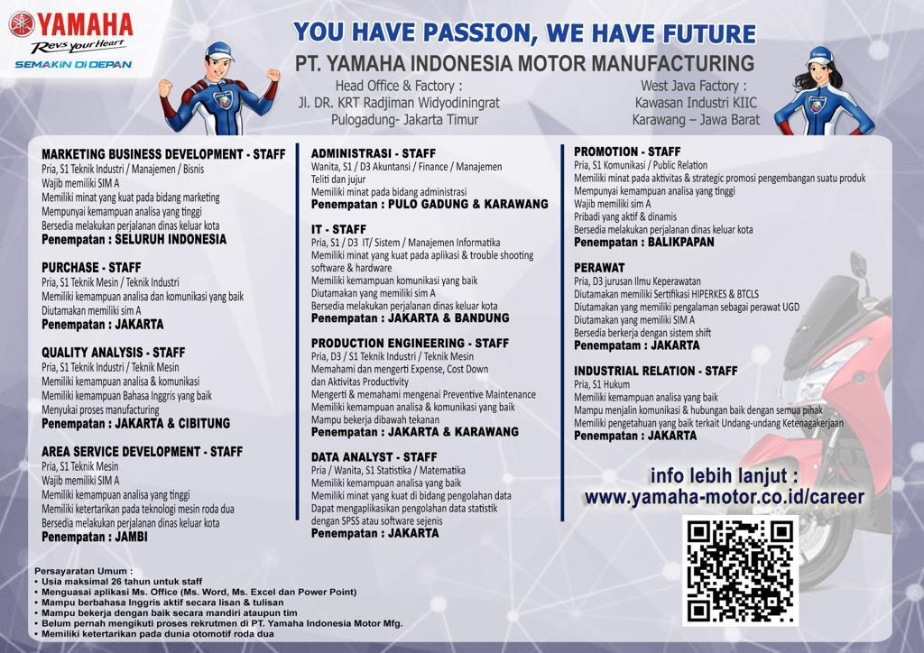 Rekrutmen Calon Karyawan PT Yamaha Indonesia Motor Manufacturing Juli 2019