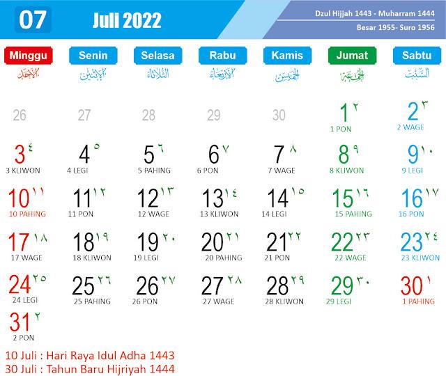 Kalender Juli 2022 - Kanalmu