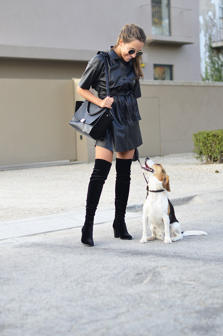Streetstyle , beagle - Zara leather dress, céline trapeze black bag, over the knee velvet boots, ray ban round sunglasses