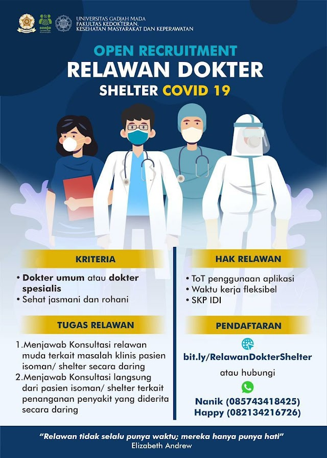 OPEN RECRUITMENT Relawan Dokter Shelter Covid 19 UGM Secara Daring