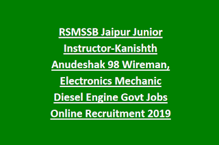 RSMSSB Jaipur Junior Instructor-Kanishth Anudeshak 98 Wireman, Electronics Mechanic Diesel Engine Govt Jobs Online Recruitment 2019
