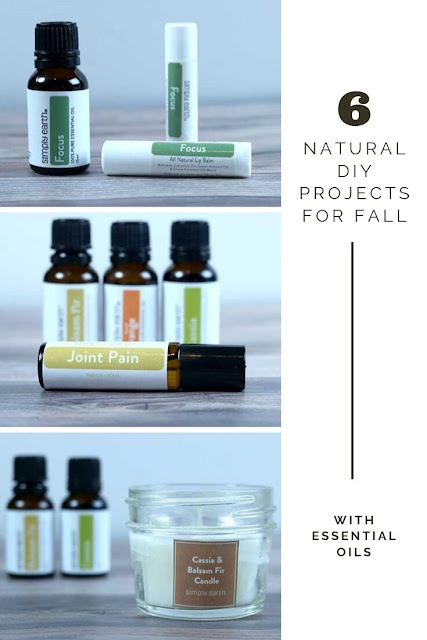 Make 6 DIY natural fall essential oil recipes from Simply Earth. These recipes are for a diffuser blend, rollerball, and candles. How to make scented candles in mason jars for cute gifts.  Easy candle making with soy wax.  Get fall candle making ideas and homemade natural DIYs for the home. #fall #essentialoils