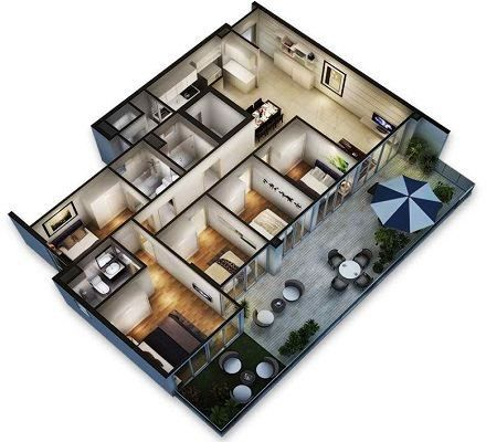 Gambar Denah Rumah Minimalis 1 Lantai 5 Kamar Tidur 3D