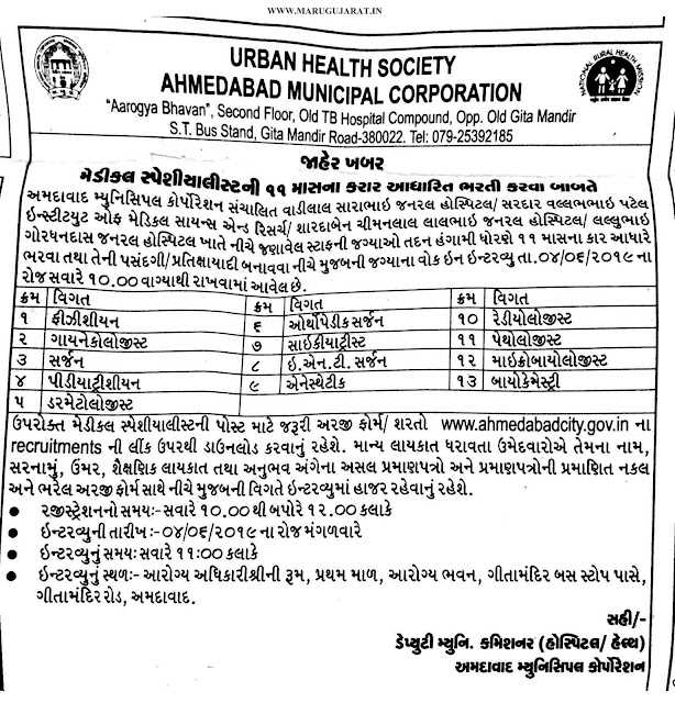 Urban Health Society (AMC) Recruitment for Medical