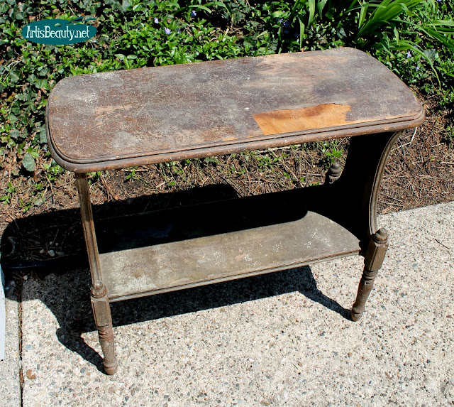 roadside rescue small stencilled side table makeover removing veneer stencilled diy project