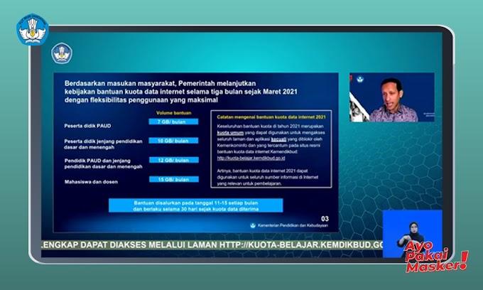 Mendapat Respons Positif, Kemendikbud Melanjutkan Kebijakan Bantuan Kuota Data Internet Tahun 2021