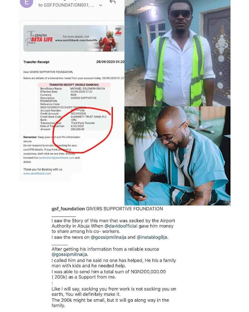 Airport Official Receives N200,000 After He Lost His Job Because Of Davido