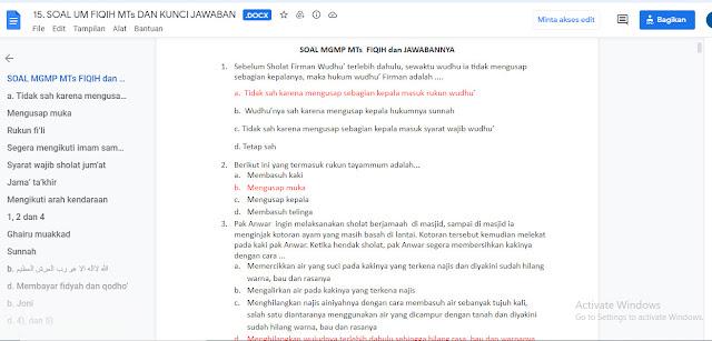 Contoh Soal & Kunci Jawaban Ujian Madrasah (UM) Fiqih MTs Tahun 2021