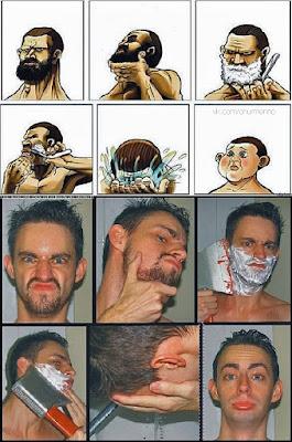 Lustige Mann beim rasieren vorher nachher