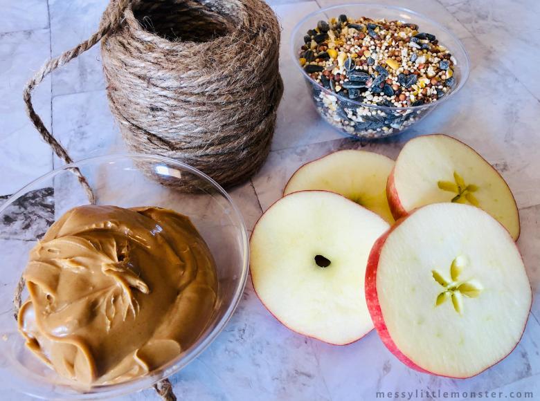 homemade apple bird feeder