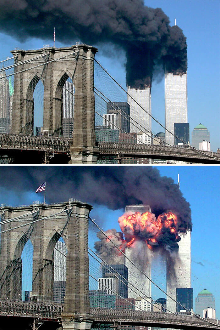 18 Rare Historical 9/11 Photos That You Most Possibly Haven't Seen Before - A Plane Explodes After Hitting The Second Tower Of The World Trade Center As The Other Tower Burns