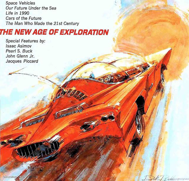 a 1965 illustration of a retrofuture car