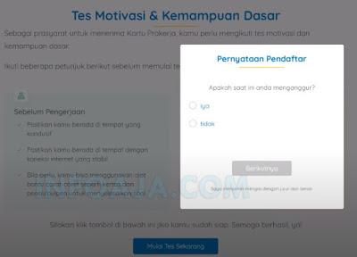 Pernyataan pendaftar kartu prakerja