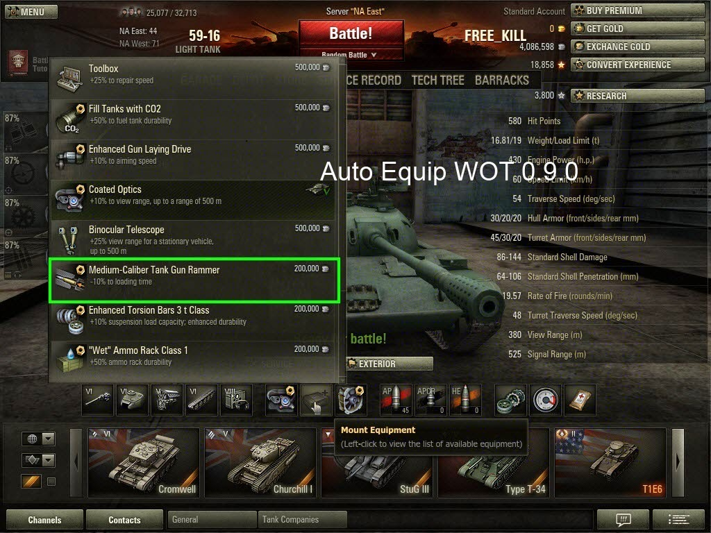 world of tanks how to equip mod