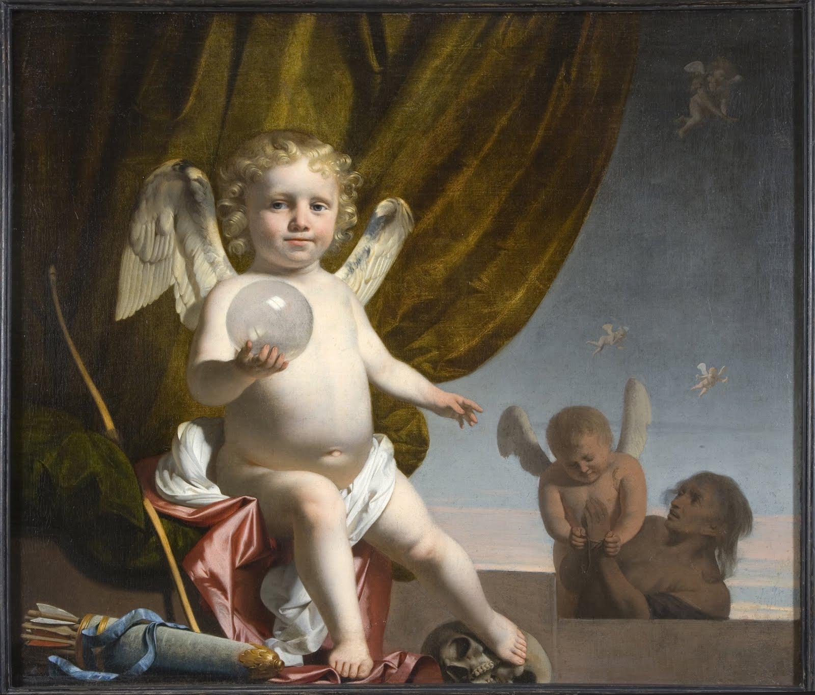 Une peinture représentant un ange tenant une orbe translucide dans la main droite
