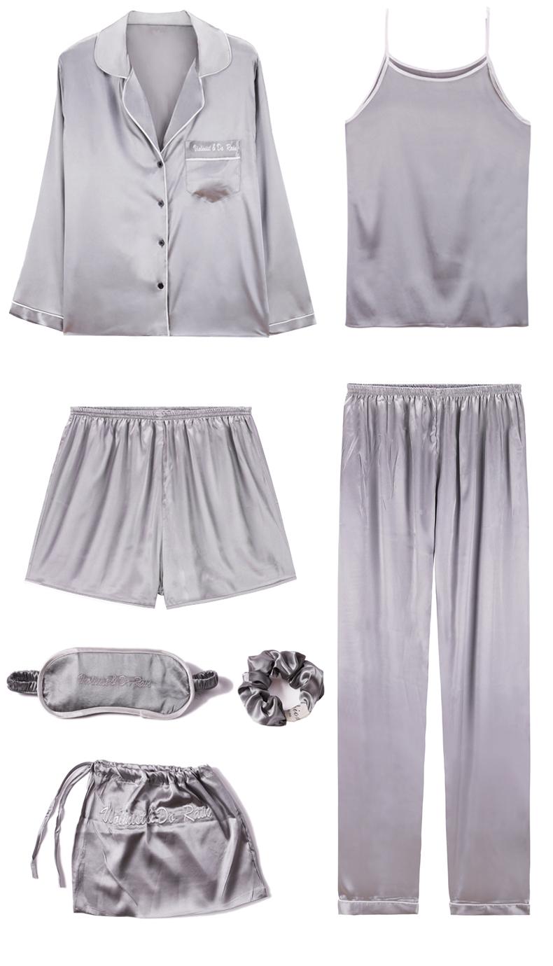 Bộ Pijama ngủ 7 chi tiết bằng lụa mặc nhà dễ thương 4