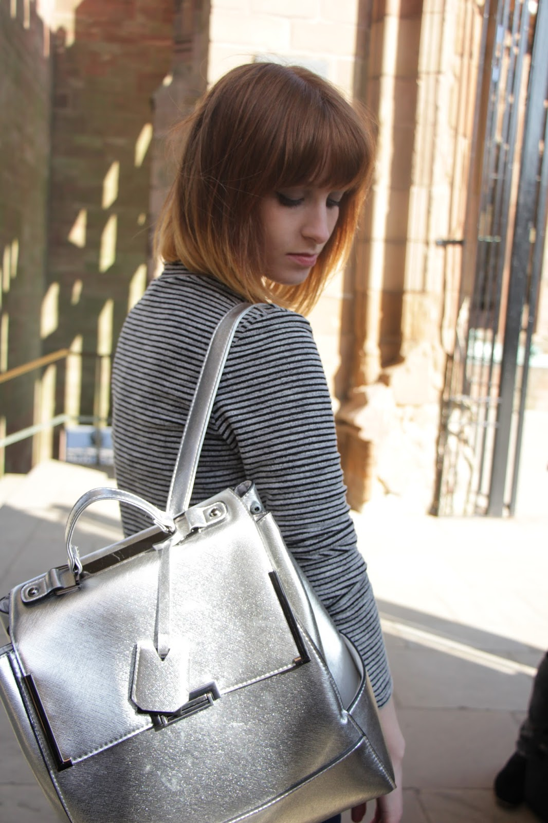 silver new look bag outfit
