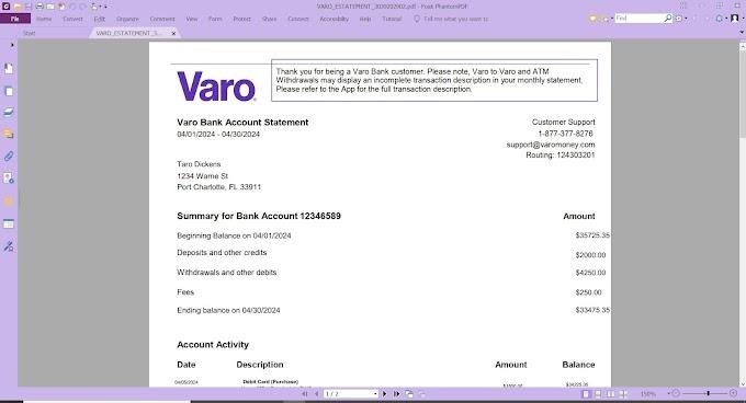 VARO BANK STATEMENT PDF TEMPLATE