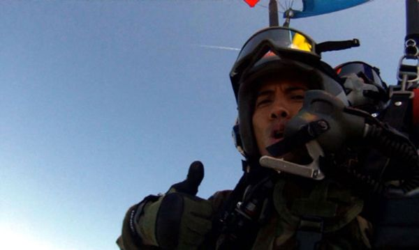 Staring at my left GoPro camera after the parachute opens, on April 29, 2013.