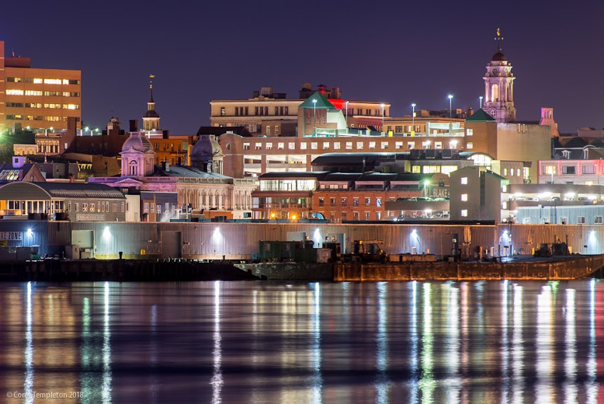 Portland, Maine USA January 2018 photo by Corey Templeton. A nighttime view across the harbor featuring two of my favorite buildings, the United States Custom House and Portland City Hall.