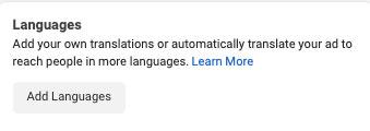 Choose Facebook Ad Campaign language: eAskme