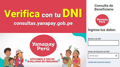 LINK para ingresar tu DNI y verificar si accedes al BONO YANAPAY