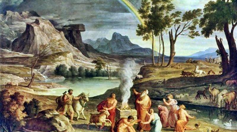 ilustração do sacrifício oferecido por Noé e a família pela salvação de todos após o dilúvio devastar toda a terra