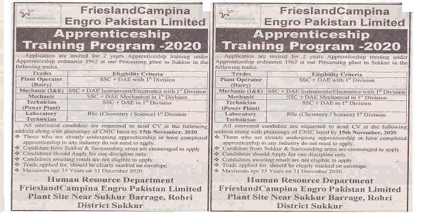 Latest Engro Pakistan FrieslandCompina Apprenticeship Training Program 2020