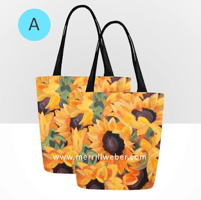 Sunflower painting art tote bags by artist Merrill Weber