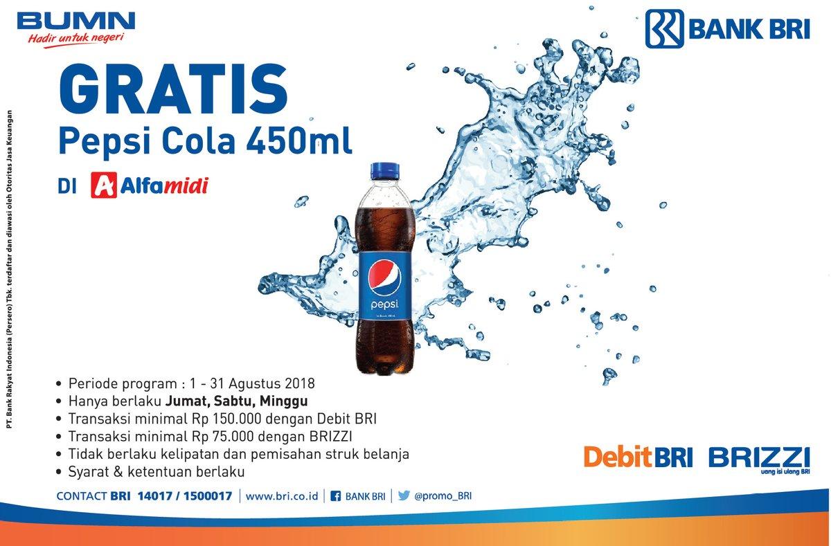 Alfamidi - Belanja Pakai Kartu BRI Bisa Gratis Pepsi Cola 450 ml (s.d 31 Agustus 2018)