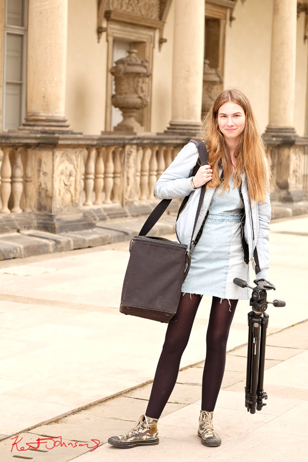 Chloe with her 5x4 camera and tripod for Street Fashion Sydney, Prague Edition, Photographed by Kent Johnson.