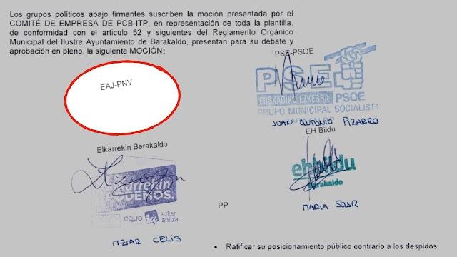 La firma del PNV no aparece en la moción en apoyo a los trabajadores de ITP Aero PCB
