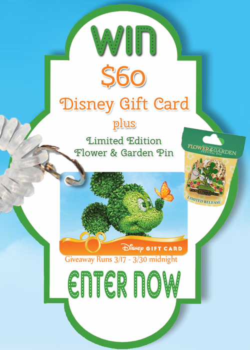 Spring Fling Giveaway! $60 Disney Gift Card and LE Flower and Garden Pin!