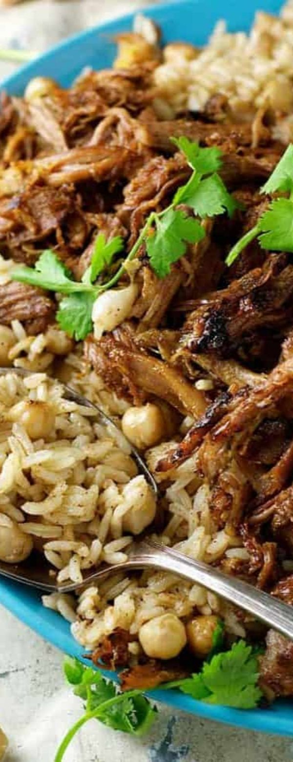 Middle Eastern Shredded Lamb with Chickpea Pilaf (Rice)