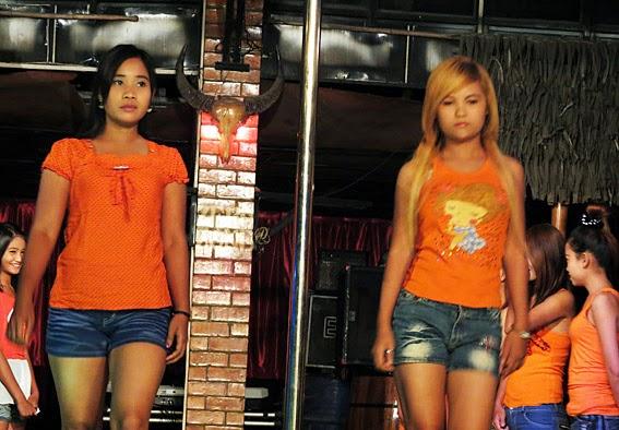 Young Burmese women working in the night