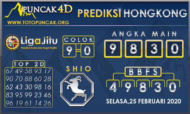 PREDIKSI TOGEL HONGKONG PUNCAK4D 25 FEBRUARI 2020