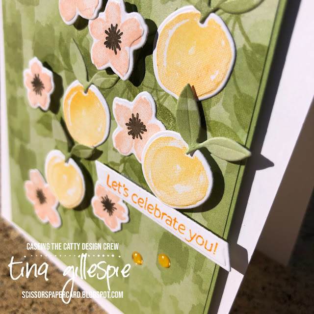 scissorspapercard, Stampin' Up!, CASEing The Catty, Sweet As A Peach, Peach Dies, You're A Peach DSP