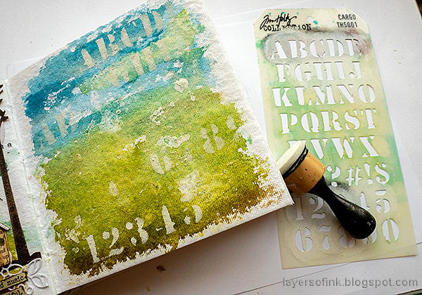 Layers of ink - Sing Art Journal Page by Anna-Karin Evaldsson. Stencil with white paint.