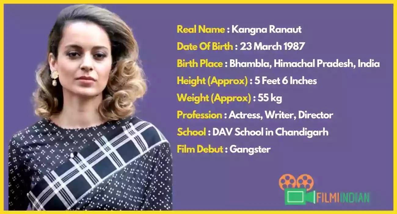 Kangana Ranaut Biography : Best Actress (2020), Family, life story, Profile, Height & Weight
