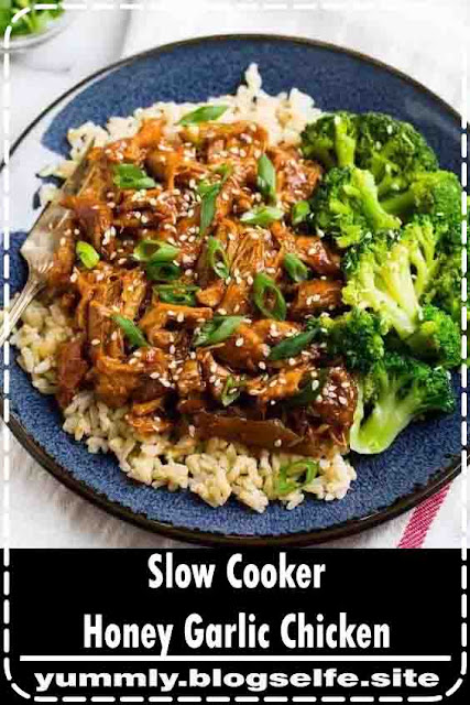Healthy Slow Cooker Honey Garlic Chicken Thighs. Just 8 ingredients! Juicy chicken in a sweet, sticky honey garlic sauce. Our entire family loves this easy, healthy crockpot recipe! #wellplated #crockpot #slowcooker