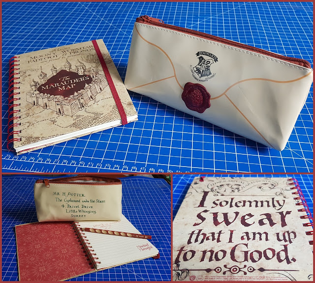 Harry Potter Notebook with Mischief Managed and marauders map message and Pencil Case which looks like a posted letter