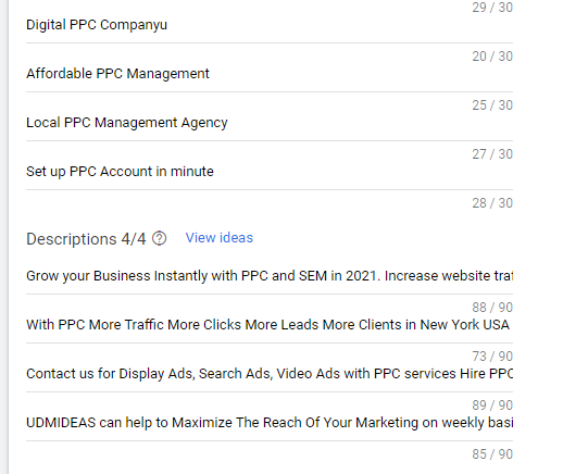 Do research to ad headlines and heading in Google Ad