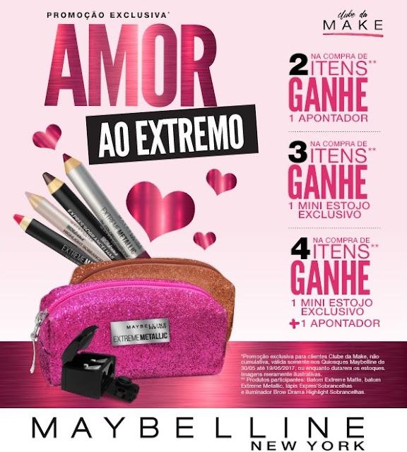 """Promoção """"Amor ao Extremo"""" da Maybelline: ganhe brindes ao comprar batons!"""