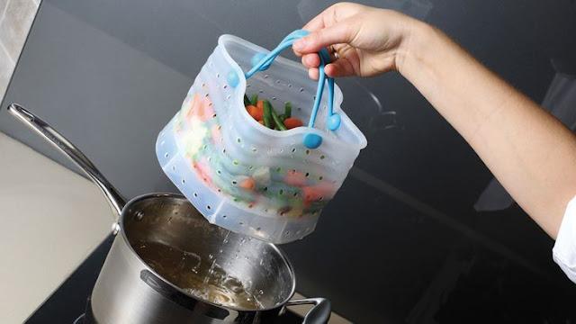 سلة الطبخ المصنوعة من السيليكون وبخار الخضار