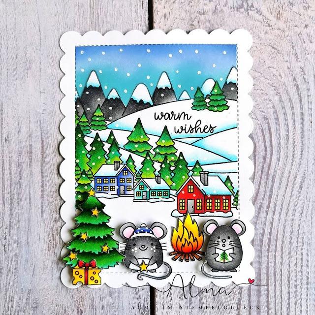 Sunny Studio Stamps: Merry Mice Winter Scenes Customer Card by Alma Im Stempelglueck