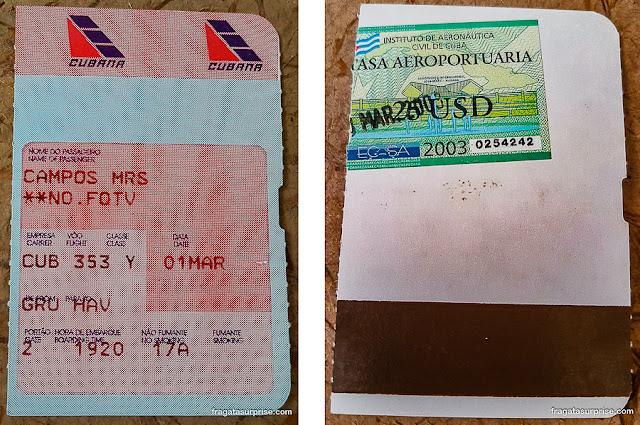 Passagem para Cuba, cartão e embarque