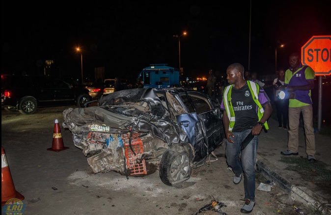 Vehicles mangled after accident in Lekki, Lagos State