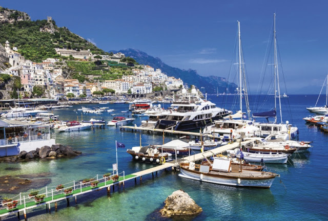 Boats in harbor on the Amalfi Coast